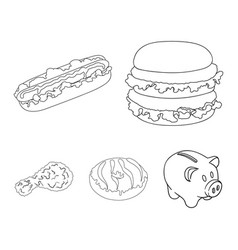 fast food meal and other web icon in outline vector image