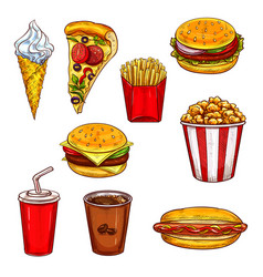 Fast food sketch set with burger drink dessert vector