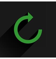 Flat green arrow icon reset repeat sign vector