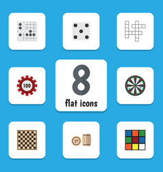 flat icon entertainment set of poker lottery vector image