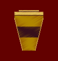 Flat shading style icon pixel icon coffee to go vector