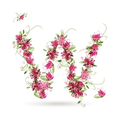 Floral letter W for your design vector image