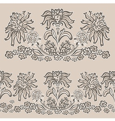 Floral pattern seamless border vector
