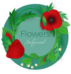 flowers background with full blooming red poppies vector image