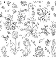 flowers seamless pattern collection set design vector image