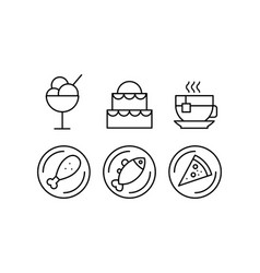food line icons set delicious dishes and desserts vector image