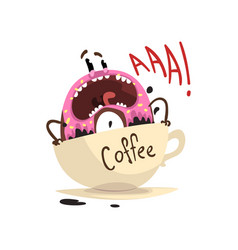Frightened donut drowning in cup of coffee vector