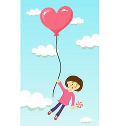 girl fly with heart balloon vector image