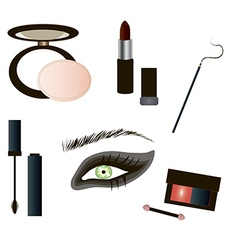 Gothic Make up details - beauty products vector
