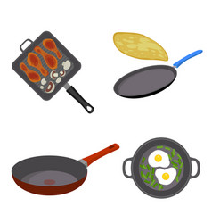 Griddle pan icon set flat style vector