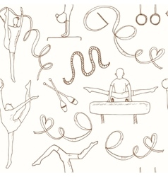 Hand drawn doodle gymnastics Seamless Pattern vector image