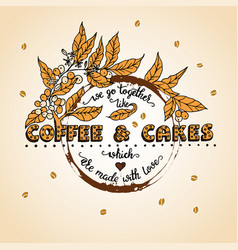 Handdrawn coffee lettering poster vector
