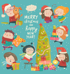 Happy cartoon children with christmas decor merry vector