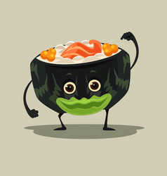 Happy smiling sushi roll character mascot vector