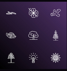 harmony icons line style set with larch tree vector image