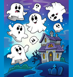 Haunted house theme image 6 vector
