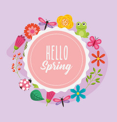 Hello spring poster with wreath floral frame vector