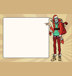 hipster santa claus specifies sideways comic vector image