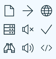 interface icons line style set with tag audio vector image