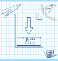 Iso file document icon download iso button line vector