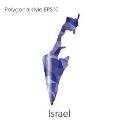 Isolated icon israel map polygonal geometric vector