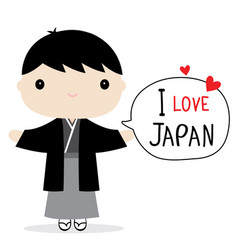 Japan men national dress cartoon vector