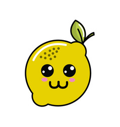Kawaii nice happy lemon icon vector