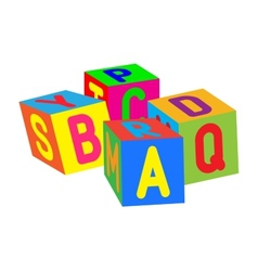 Kids colored cubes with letters vector image