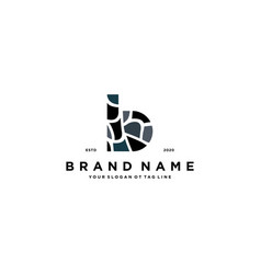 Letter b and stone logo design vector