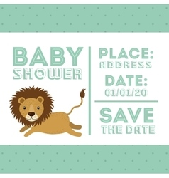 lion animal baby shower card icon vector image