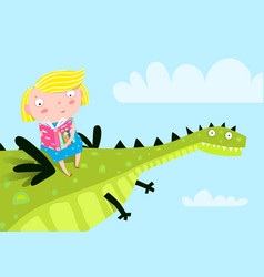little girl flying a dragon reading book vector image