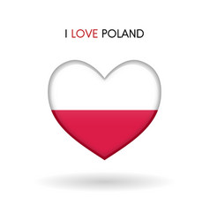 love poland symbol flag heart glossy icon vector image