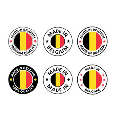 Made in belgium labels set belgian product emblem vector