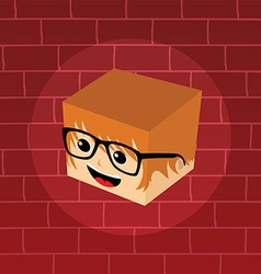 male isometric block cartoon head vector image