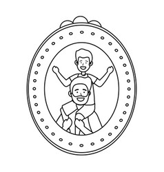 Man carrying a child photo frame black and white vector