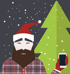 Man dressed like Santa Claus holds smartphone vector image