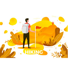 man looking to the mountain peaks vector image