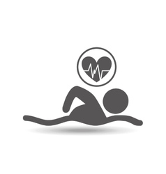 man swimming heart rate icon design vector image