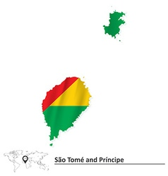 Map of Sao Tome and Principe with flag vector image