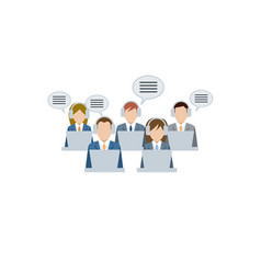 men and women working in a call center support vector image