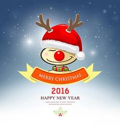 Merry Christmas reindeer with santa hat vector image vector image