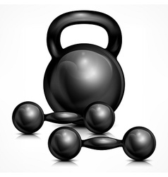 Metallic kettle bell and two vector image