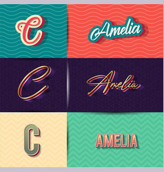 Name amelia in various retro graphic design vector
