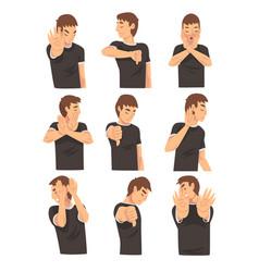 Negative gesture man character cartoon vector