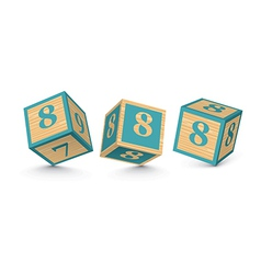 Number 8 wooden alphabet blocks vector