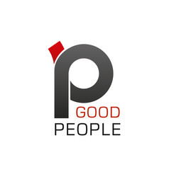 P letter icon for good people company vector