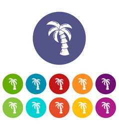 palm icons set color vector image