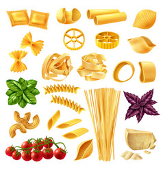 pasta realistic set vector image