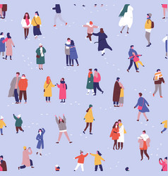 People in winter clothes seamless pattern tiny vector