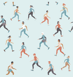 people jogging and keeping social distance vector image